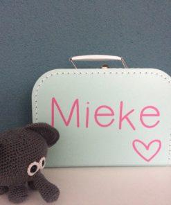 Kinderkoffertje mint groen, bedrukt met Mieke