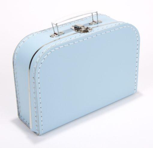 Kinderkoffertje licht blauw, met bedrukking, gepersonaliseerd, wonderzolder.nl
