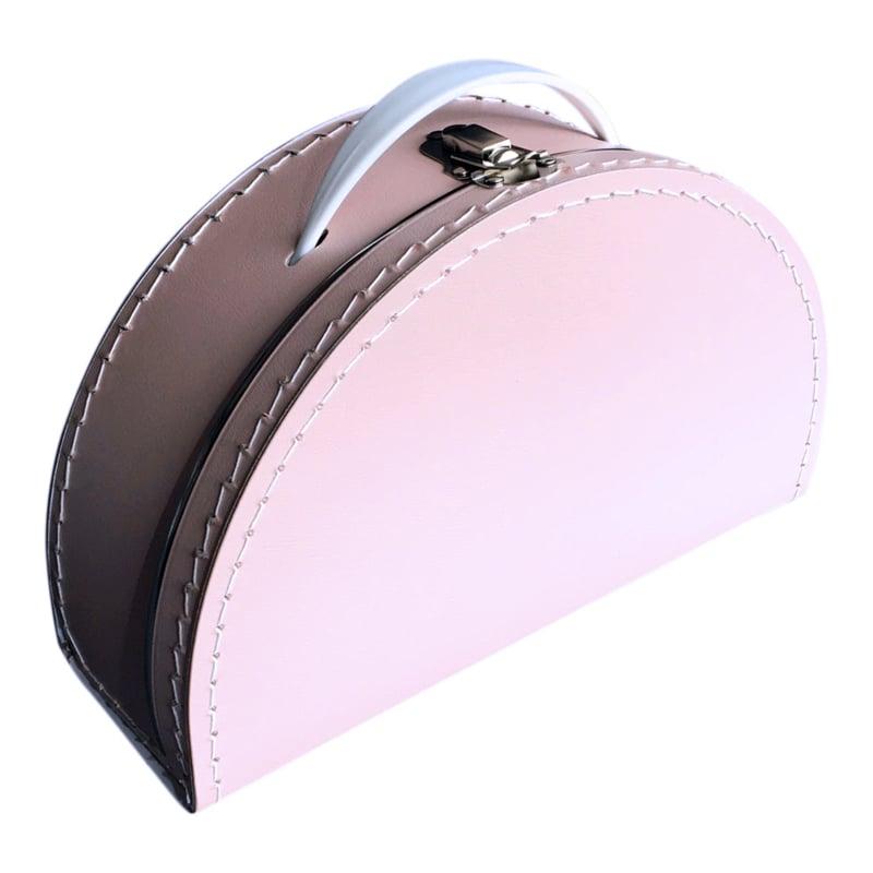 Kinderkoffertje half rond licht roze