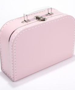 Kinderkoffertje licht roze, met bedrukking, wonderzolder.nl