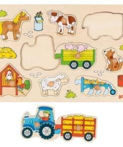 Boerderij puzzel goki, goki, houten speelgoed, insteekpuzzel, wonderzolder.nl