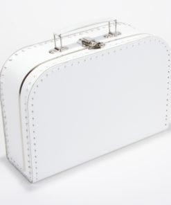 Kinderkoffertje wit, met bedrukking, sticker, gepersonaliseerd koffertje, wonderzolder.nl