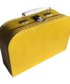 Kinderkoffertje oker geel, met bedrukking, wonderzolder.nl