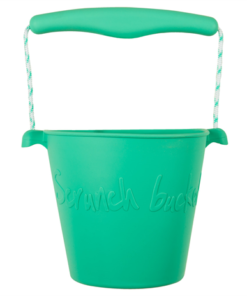 Scrunch duck egg green bucket, opvouwbare emmer, mint groen, wonderzolder.nl