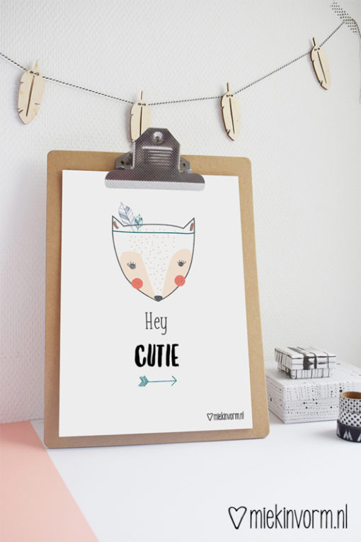 Hey Cutie poster van Miekinvorm