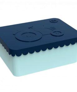 Lunchbox klein trekker donkerblauw / lichtblauw Blafre, broodtrommel met 1 vak -wonderzolder.nl