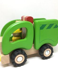Vuilniswagen van Goki, houten voertuig houtenspeelgoed -wonderzolder.nl