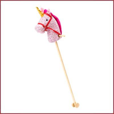 Stokpaard roze RICE, eenhoorn, unicorn -wonderzolder.nl