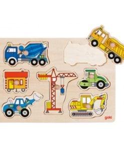 puzzel voertuigen goki, auto puzzel, bouwvoertuigen Goki, wonderzolder.nl