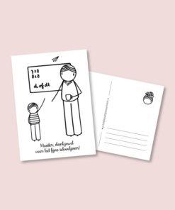 kaart bedankt meester, bedankje, school, leerkracht, irmadammekes, wonderzolder.nl