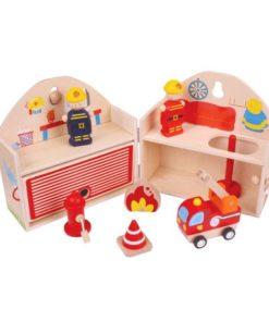 BigJigs kleine houten brandweerkazerne