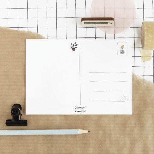 Achterkant kaart, carmens tekentafel, wonderzolder.nl