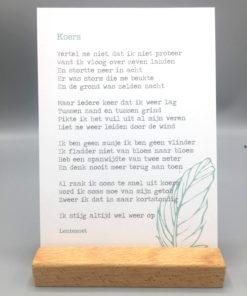 gedicht koers lentezoet, lentezoet gedichten, kaartje, wonderzolder.nl