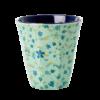 Cup blue floral, melamine, medium, mokje, RICE, Wonderzolder.nl