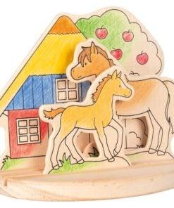 houten kleurplaat 3D Paarden, paarden manege, goki, kleuren en verven, wonderzolder.nl