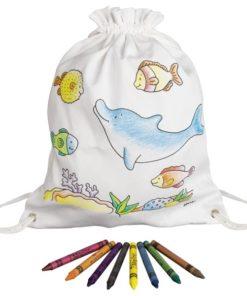 Dolfijnen tas om zelf in te kleuren van goki, sport tas, canvas rugzakje, wonderzolder.nl