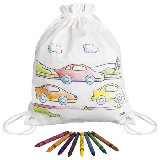 auto tas om zelf in te kleuren van goki, sport tas, canvas rugzakje, wonderzolder.nl