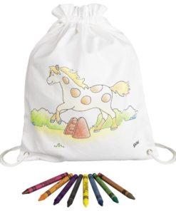 Paarden tas om zelf in te kleuren van goki, sport tas, canvas rugzakje, wonderzolder.nl