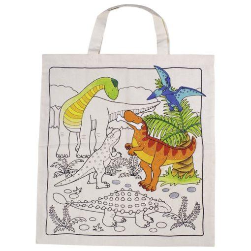dino tas om zelf in te kleuren, goki, canvas tas, textielstiften, wonderzolder.nl