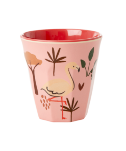 Melamine cup S Jungle animal pink, RICE, Melamine servies, fair trade, kinderservies, wonderzolder.nl