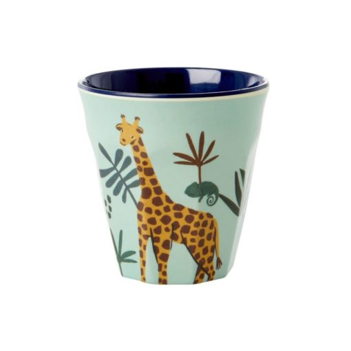 Melamine cup S Jungle animal blue, RICE, Melamine servies, fair trade, kinderservies, wonderzolder.nl