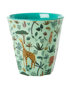 Melamine cup S Jungle animal blue medium, RICE, Melamine servies, fair trade, kinderservies, wonderzolder.nl