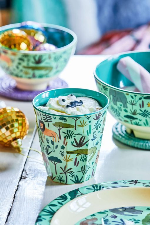 Jungle animal servies, blue, RICE, Melamine servies, fair trade, kinderservies, wonderzolder.nl