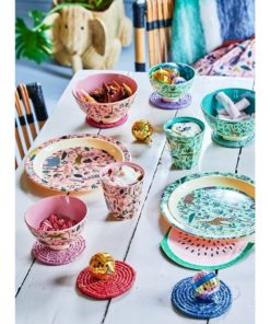 Jungle animal servies, pink, RICE, Melamine servies, fair trade, kinderservies, wonderzolder.nl