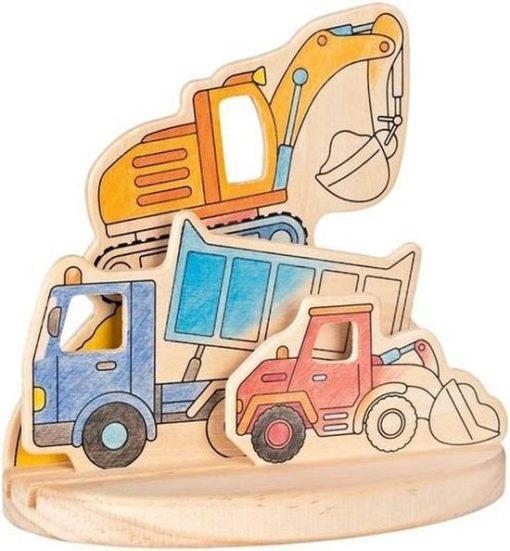 Houten 3D kleurplaat bouwvoertuigen, goki, knutselen, 3d kleurplaat, wonderzolder.nl