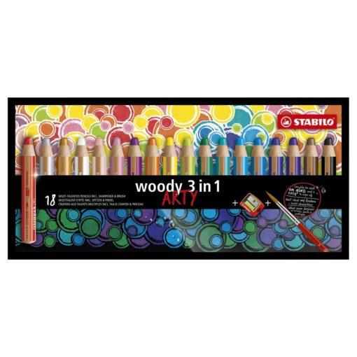 Stabilo,Woody's, doos 18 stuks Arty, wonderzolder.nl