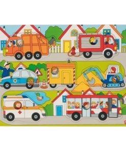 puzzel kiekeboe voertuigen, voertuigen puzzel, houten puzzel, goki, wonderzolder.nl