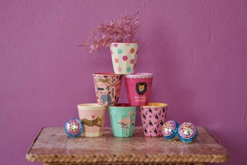 Set bekers Jungle print roze van RICE - small Wonderzolder