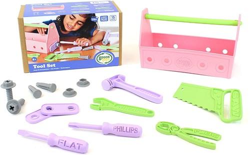 Toolbox pink, Green Toys, gereedschapskist, green toys gereedschap, wonderzolder.nl
