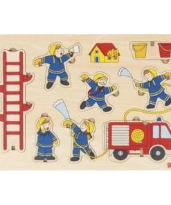 Insteek puzzel brandweer, Goki, houten puzzel, brandweer, wonderzolder.nl