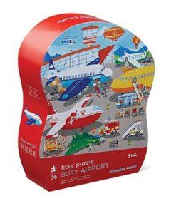 puzzel vliegveld, crocodile creek, floor puzzle busy airport, vloer puzzel, wonderzolder.nl