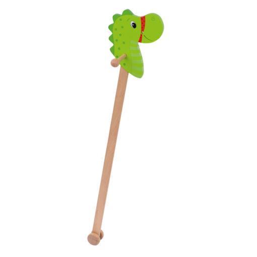 Stokpaard draak, stokpaard goki, doen alsof, houten speelgoed, wonderzolder.nl
