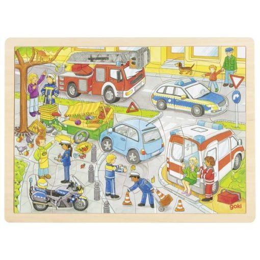 hulpdiensten puzzel, houten puzzel, goki, puzzelen, brandweer, ambulance, politie, wonderzolder.nl