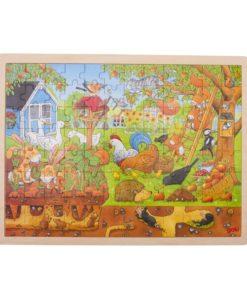 onze tuin puzzel, houten puzzel, goki puzzel, xxl puzzel, wonderzolder.nl