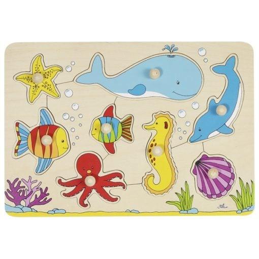 puzzel zeedieren, ocean animals, goki puzzel, houten puzzel, knoppen puzzel, wonderzolder.nl