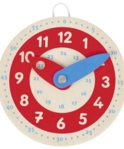 Houten klok, leren klokkijken, goki, wijzers van de klok, wonderzolder.nl
