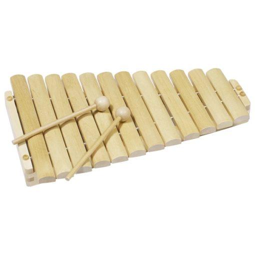 Houten xylofoon, blank houten xylofoon, muziekinstrument, goki, muziek maken met goki, wonderzolder.nl