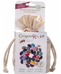 Crayon rocks 32 stuks, ecru zakje 32 crayon rocks, 32 krijtjes, pengreep, kleuren, wonderzolder.nl