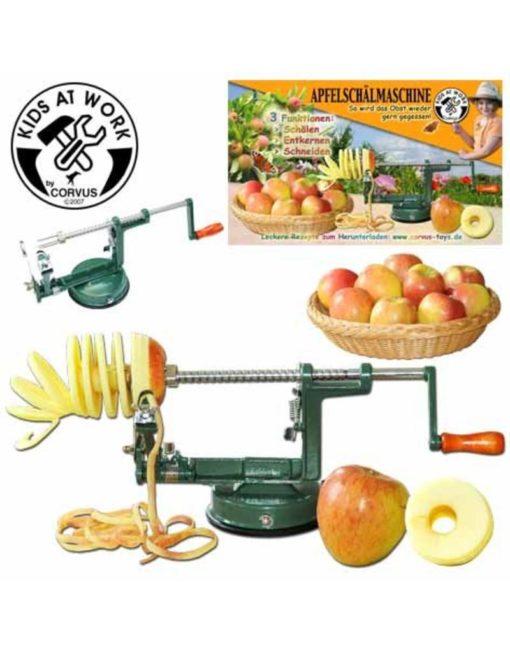 Appelschilmachine, kids at work, Corvus toys, appels schillen, wonderzolder.nl