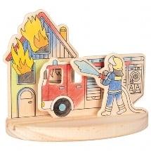houten kleurplaat 3D brandweer, goki, kleuren en verven, wonderzolder.nl