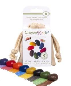 Crayon rocks 8 stuks in katoenen zakje, crayon kleurtjes, waskrijt, sojakrijt, wonderzolder.nl