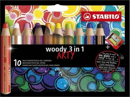 Stabilo,Woody's Arty, doos woody's 10 stuks, stabilo, kleurpotlood, wonderzolder.nl