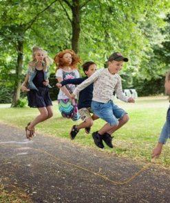 5 meter lang springtouw geel, goki, buiten spelen, touwtje springen, wonderzolder.nl