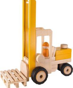 grote heftruck, heftruck goki, vorkheftruck, houten speelgoed, wonderzolder.nl