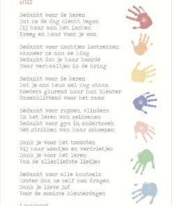 kaart kleuterjuf, meisje, einde schooljaar, bedankje, lentezoet, wonderzolder.nl