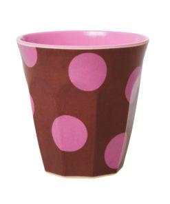 Rice wonderzolder melamine brown soft pink dots